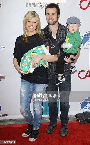Kaitlin Olson and Rob McElhenney with their childeren arrive at the Milk Bookies 3rd Annual Story Time Celebration held at Skirball Cultural Center...