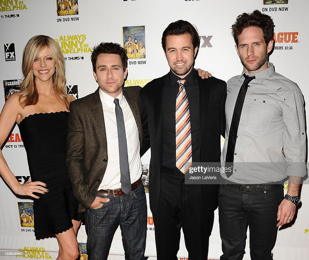 Kaitlin Olson, Charlie Day, Rob McElhenney and Glenn Howerton attend the FX season premiere screenings for 'It's Always Sunny In Philadelphia' and 'The League' at ArcLight Cinemas Cinerama Dome on October 9, 2012 in Hollywood, California.