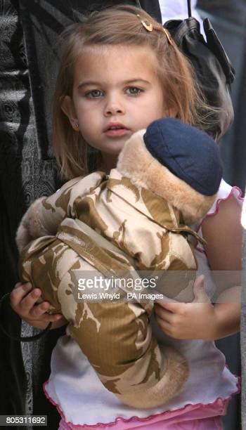 Kaitlin the daughter of Lance Corporal Richard Brandon of the Corps of Royal Electrical and Mechanical Engineers who was killed in Afghanistan...