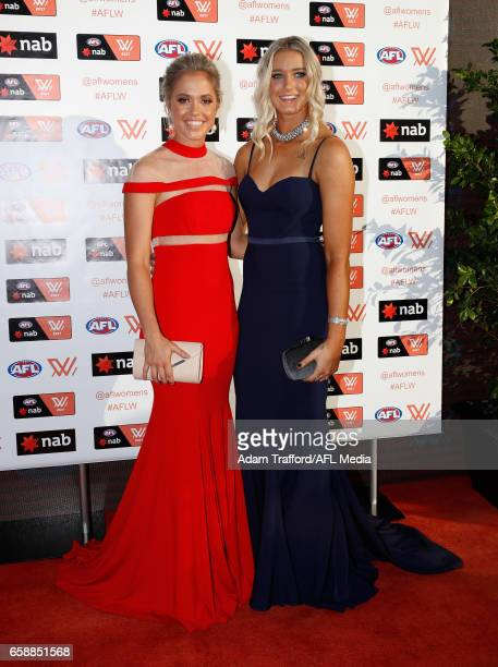 Kaitlyn Ashmore and Tayla Harris of the Lions arrive during the The W Awards at the Peninsula on March 28 2017 in Melbourne Australia