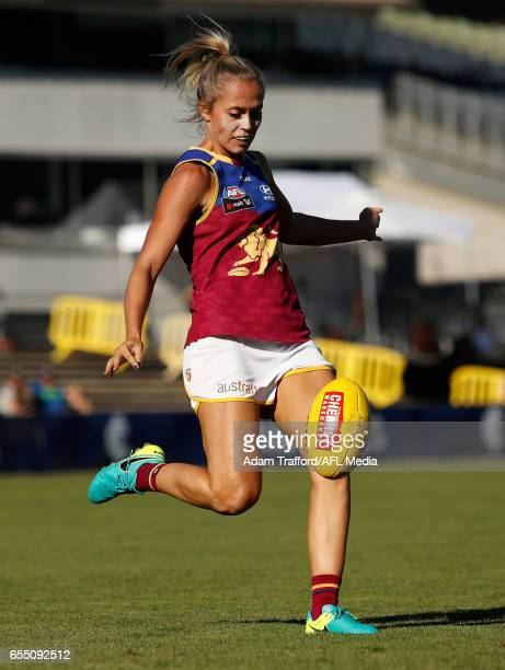 Kaitlyn Ashmore of the Lions kicks the ball during the 2017 AFLW Round 07 match between the Carlton Blues and the Brisbane Lions at Ikon Park on...