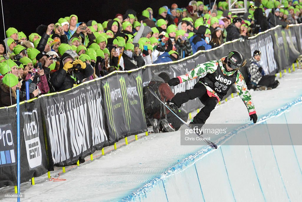 Kaitlyn Farrington competes in the Winter X-Games 2014 women's Snowboard Superpipe final at Buttermilk Mountain on January 25, 2014 in Aspen, Colorado. Farrington won the bronze medal in the event.