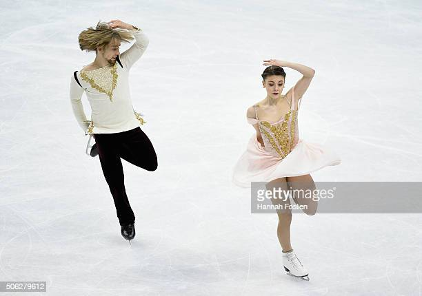 Kaitlyn Hawayek and JeanLuc Baker compete in the Short Dance at the 2016 Prudential US Figure Skating Championship on January 22 2016 at Xcel Energy...
