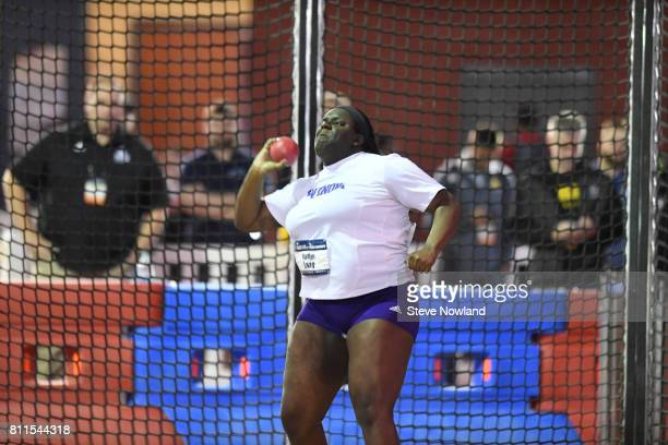 Kaitlyn Long of Winona State competes in the women's shot put during the Division II Men's and Women's Indoor Track Field Championship held at the...