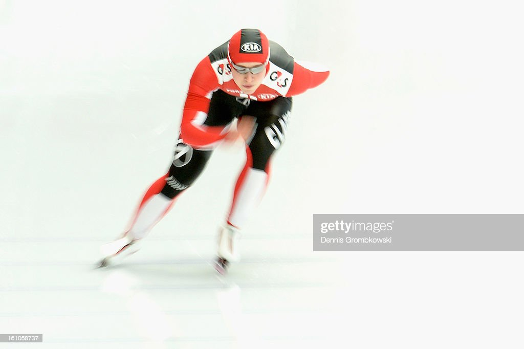Kaitlyn McGregor of Switzerland competes in the Ladies 1500m Group B race during day one of the ISU Speed Skating World Cup at Max Eicher Arena on February 9, 2013 in Inzell, Germany.