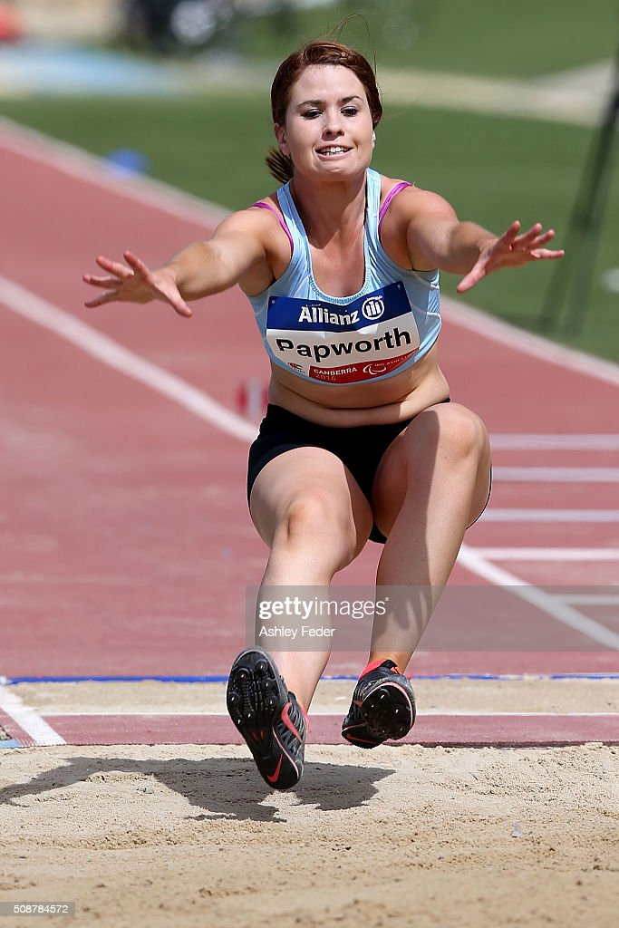 Kaitlyn Papworth of VIC competes in the womens long jump (Ambulant 13) during the IPC Athletics Grand Prix on February 6, 2016 in Canberra, Australia.