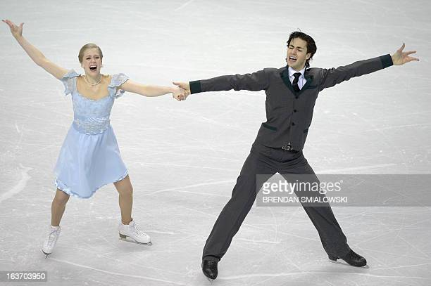 Kaitlyn Weaver and Andrew Poje compete for Canada during the Ice Dance Short Program at the 2013 World Figure Skating Championships March 14 2013 in...