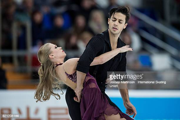 Kaitlyn Weaver and Andrew Poje of Canada compete during Ice Dance Free Dance on day two of the Rostelecom Cup ISU Grand Prix of Figure Skating at...