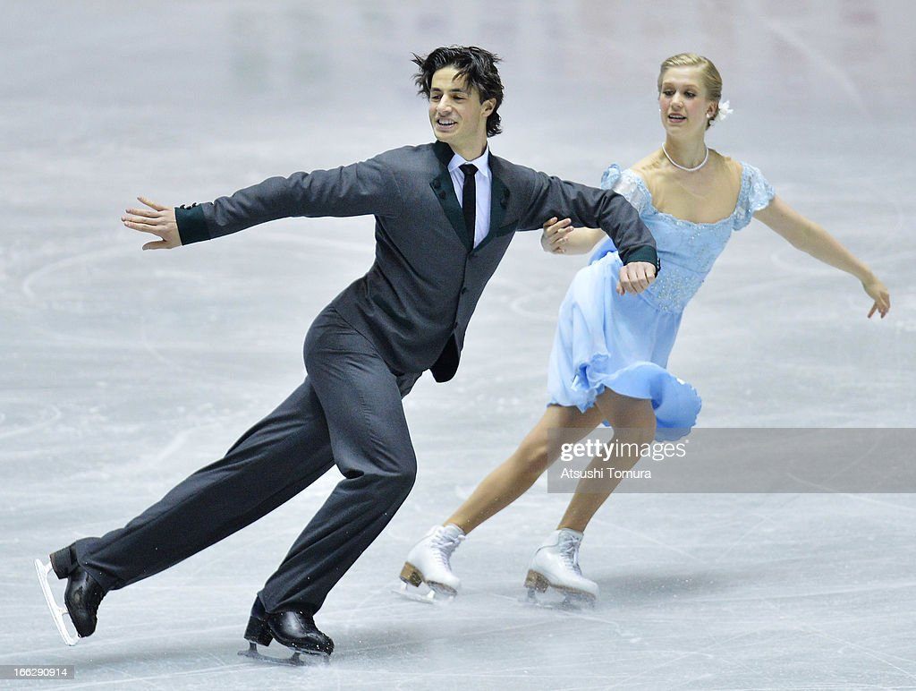 Kaitlyn Weaver and Andrew Poje of Canada compete in the ice dance short dance during day one of the ISU World Team Trophy at Yoyogi National Gymnasium on April 11, 2013 in Tokyo, Japan.