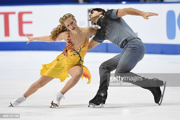 Kaitlyn Weaver and Andrew Poje of Canada compete in the Ice Dance Free Dance during day three of ISU Grand Prix of Figure Skating 2014/2015 NHK...