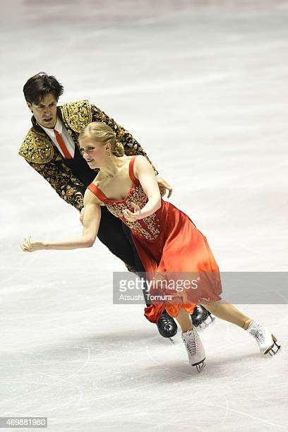 Kaitlyn Weaver and Andrew Poje of Canada compete in the Ice Dance short dance during the day one of the ISU World Team Trophy at Yoyogi National...