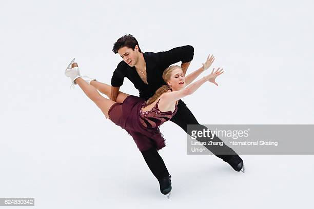 Kaitlyn Weaver and Andrew Poje of Canada compete in the Ice Dance Free Dance on day two of Audi Cup of China ISU Grand Prix of Figure Skating 2016 at...