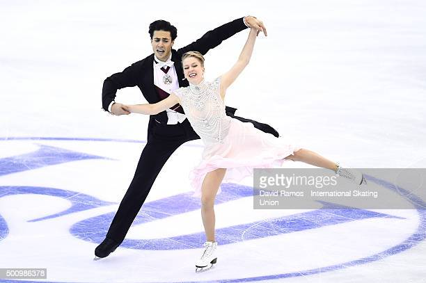 Kaitlyn Weaver and Andrew Poje of Canada perform during the Dance Short program during day two of the ISU Grand Prix of Figure Skating Final...