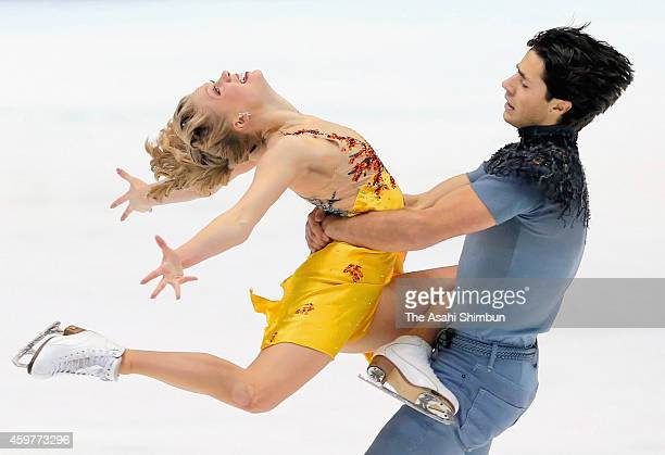 Kaitlyn Weaver and Andrew Poje of Canada perform during the ice dance free dancing during day three of ISU Grand Prix of Figure Skating NHK Trophy at...
