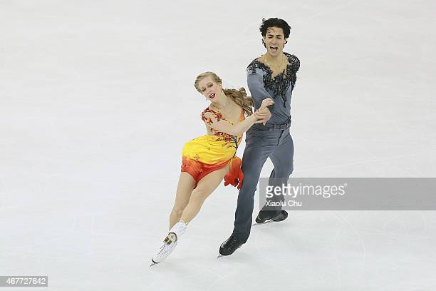 Kaitlyn Weaver and Andrew Poje of Canada perform during the Ice DanceFree Dance on day three of the 2015 ISU World Figure Skating Championships at...