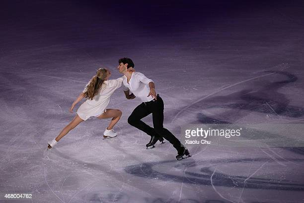 Kaitlyn Weaver and Andrew Poje of Canada perform during the Exhibition Program on day five of the 2015 ISU World Figure Skating Championships at...