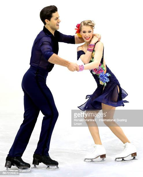 Kaitlyn Weaver and Andrew Poje of Canada perform in the ice dance short program during the ISU Grand Prix of Figure Skating at Brandt Centre on...