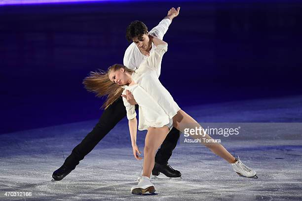 Kaitlyn Weaver and Andrew Poje of Canada perform their routine in the exhibition on the day four of the ISU World Team Trophy at Yoyogi National...