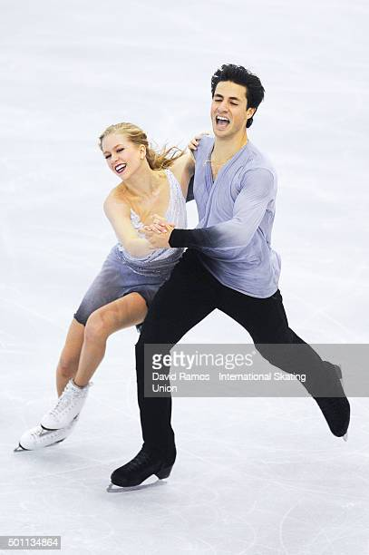 Kaitlyn Weaver and Andrew Poje of Canada performs during the Pairs Dance Free program during day three of the ISU Grand Prix of Figure Skating Final...