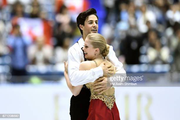 Kaitlyn Weaver and Andrew Poje of Canada react after competing in the Ice dance free dance during day two of the ISU World Team Trophy at Yoyogi...