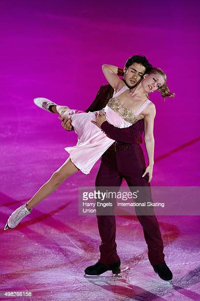 Kaitlyn Weaver and Andrew Poje of Canada skate during the Exhibition Gala on day three of the Rostelecom Cup ISU Grand Prix of Figure Skating 2015 at...