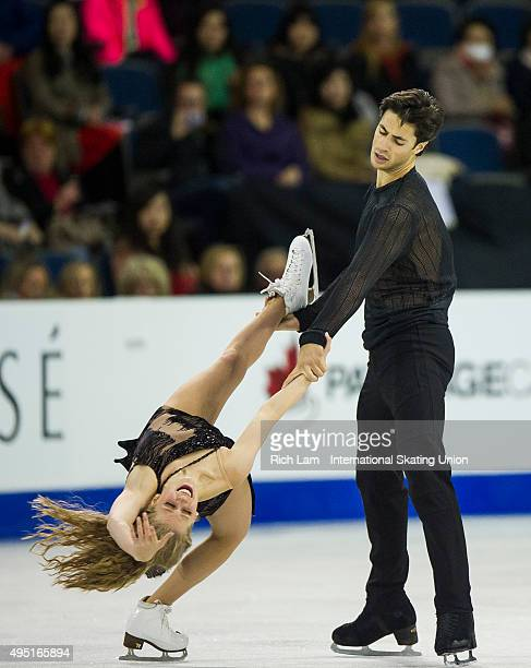Kaitlyn Weaver and Andrew Poje of Canada skate during the Ice Dance Free Dance on day two of Skate Canada International ISU Grand Prix of Figure...
