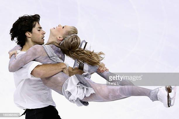 Kaitlyn Weaver and Andrew Poje of Canada skate in Ice Dance Free Dance during Cup of China ISU Grand Prix of Figure Skating 2012 at the Oriental...