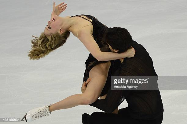 Kaitlyn Weaver and Andrew Poje of Canada skate in the Ice Dance Free Dance during Rostelecom Cup ISU Grand Prix of Figure Skating 2015 at the Small...