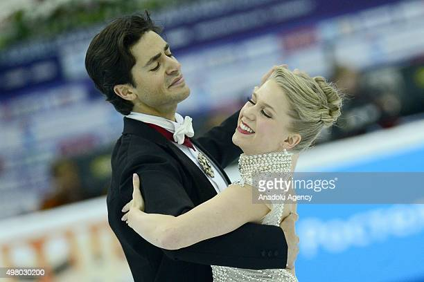 Kaitlyn Weaver and Andrew Poje of Canada skate in the Ice Dance Short Dance during Rostelecom Cup ISU Grand Prix of Figure Skating 2015 at the Small...