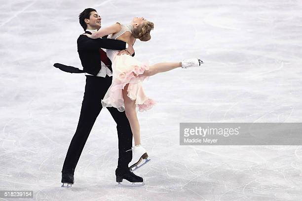 Kaitlyn Weaver and Andrew Poje of Canada skate in the Ice Dance Short program during day 3 of the ISU World Figure Skating Championships 2016 at TD...