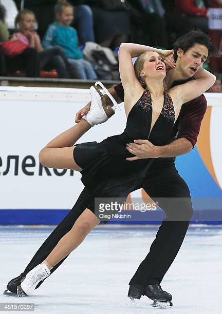 Kaitlyn Weaver and Andrew Poje of Canada skates in the Ice Dance Free Dance during ISU Rostelecom Cup of Figure Skating 2013 on November 23 2013 in...