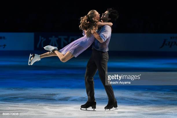 Kaitlyn Weaver and Andrew Poje perform at halftime show during the figure skating Japan Open at Saitama Super Arena on October 7 2017 in Saitama Japan