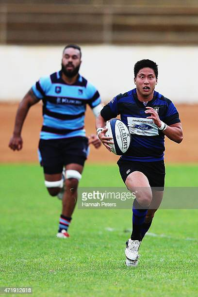 Kaito Shigeno of Ponsonby makes a break during the club rugby game between Ponsonby and Marist at Western Springs Stadium on May 2 2015 in Auckland...