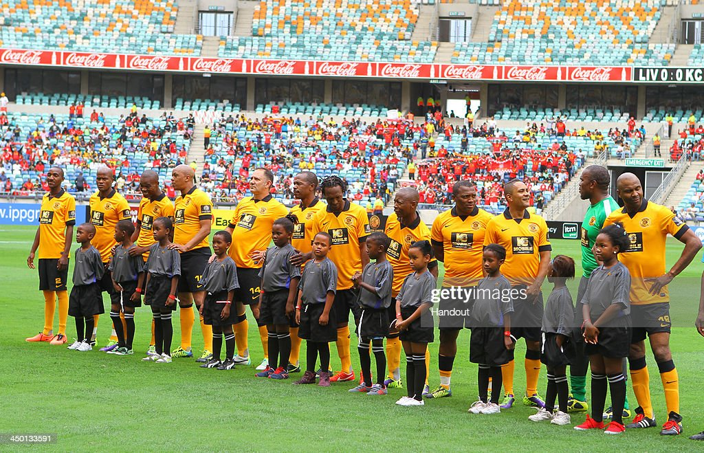 Kaizer Chiefs legends during the Legends match between Liverpool FC Legends and Kaizer Chiefs Legends at Moses Mabhida Stadium on November 16, 2013 in Durban, South Africa.