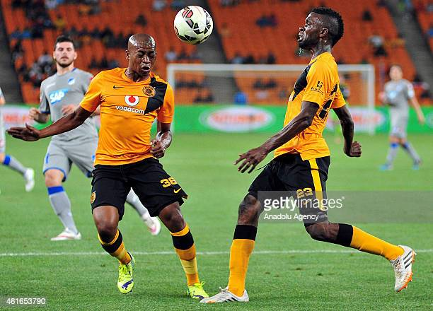Kaizer Chiefs' Simphiwe Mtsweni and Tefu Mashamaite in action during a friendly soccer match between Kaizer Chiefs and TSG 1899 Hoffenheim at the...