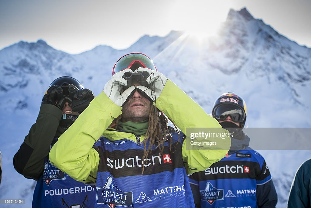 Kaj Zackrisson of Sweden and Team Europe scouts the face during day 1 of the Swatch Skiers Cup on February 10, 2013 in Zermatt, Switzerland.