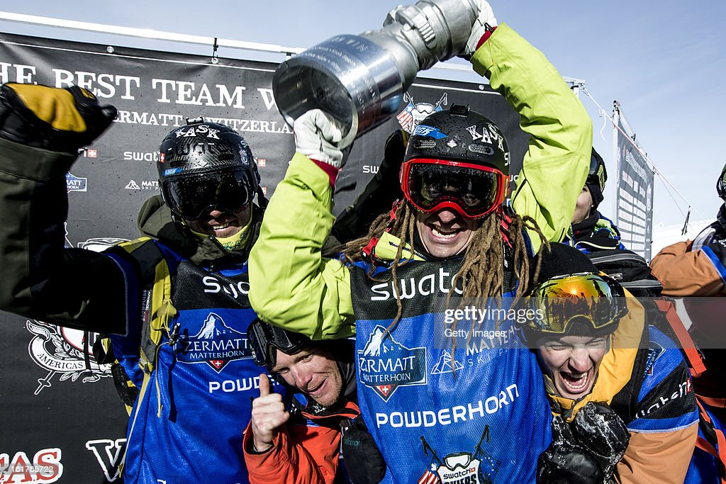 Kaj Zackrisson of Sweden lifts the trophy aloft as he leads Team Europe in victory celebrations during day 5 of the Swatch Skiers Cup on February 14, 2013 in Zermatt, Switzerland.