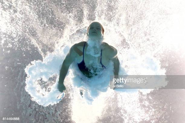 Kaja Skrzek of Poland competes during the Womens 1M Springboard Diving preliminary round on day one of the Budapest 2017 FINA World Championships on...