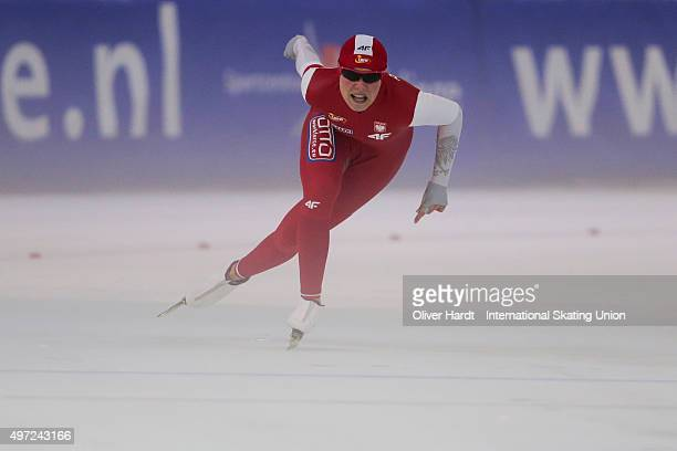 Kaja Ziomek of Poland competes in the ladies 500m race during day 2 of the ISU Junior World Cup Speed Skating Groningen on November 15 2015 in...