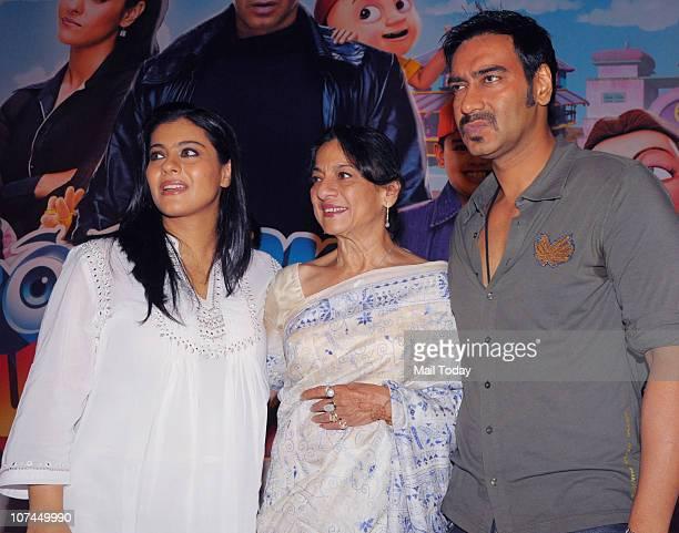 Kajol Tanuja and Ajay Devgan at the music launch of the movie 'Toonpur Ka Superhero' at Novatel Juhu on December 8 2010