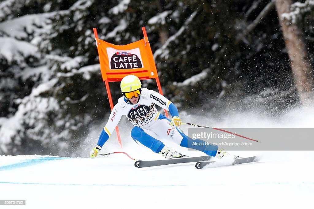 Kajsa Kling of Sweden competes during the Audi FIS Alpine Ski World Cup Women's Downhill Training on February 12, 2016 in Crans Montana, Switzerland.