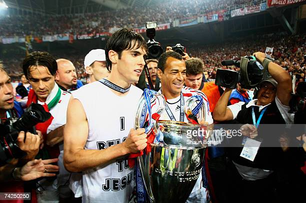 Kaka and Cafu of Milan celebrate with the trophy during the UEFA Champions League Final match between Liverpool and AC Milan at the Olympic Stadium...