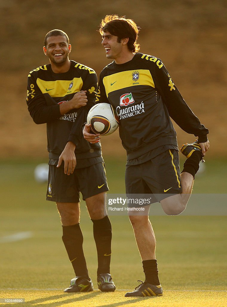Kaka and <a gi-track='captionPersonalityLinkClicked' href=/galleries/search?phrase=Felipe+Melo&family=editorial&specificpeople=646942 ng-click='$event.stopPropagation()'>Felipe Melo</a> in action during the Brazil team training session at St Stithians College on June 30, 2010 in Johannesburg, South Africa. Brazil will play The Netherlands on July 2, in the Quarter Finals of the 2010 FIFA World Cup.