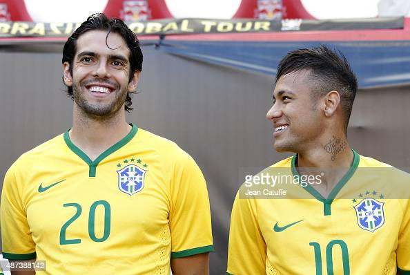 Kaka and Neymar of Brazil smile before the international friendly match between Brazil and Costa Rica at Red Bull Arena on September 5 2015 in...