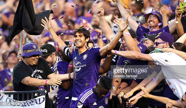 Kaka celebrates in the stands after scoring for Orlando City against the Columbus Crew on Saturday May 30 at the Citrus Bowl in Orlando Fla