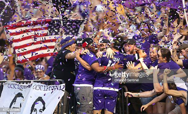 Kaka celebrates in the stands after scoring for Orlando City against the Columbus Crew on Saturday May 30 at the Citrus Bowl in Orlando Fla The teams...