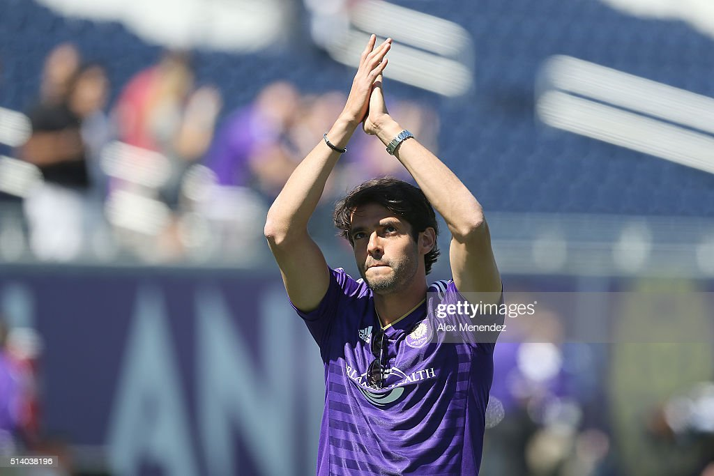 Kaka is seen on the field prior to a MLS soccer match between Real Salt Lake and the Orlando City SC at the Orlando Citrus Bowl on March 6, 2016 in Orlando, Florida. Kaka will not start the season opener due to injury.