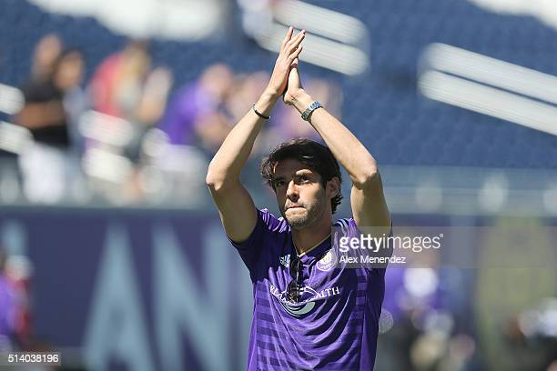 Kaka is seen on the field prior to a MLS soccer match between Real Salt Lake and the Orlando City SC at the Orlando Citrus Bowl on March 6 2016 in...