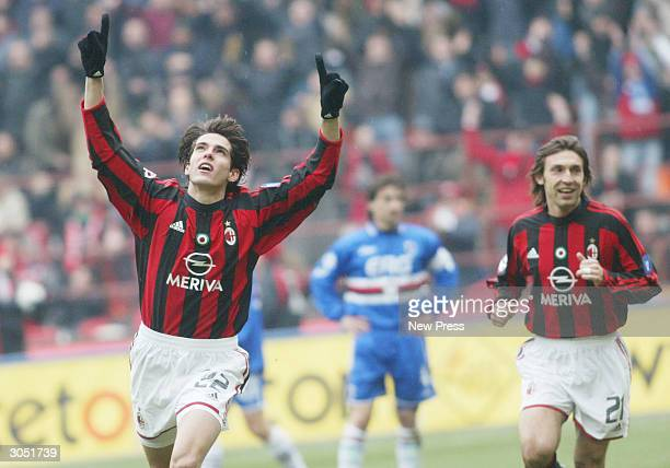 Kaka' Leite and Andrea Pirlo celebrate a goal during the Serie A match between AC Milan and Sampdoria on March 7 in Milan Italy