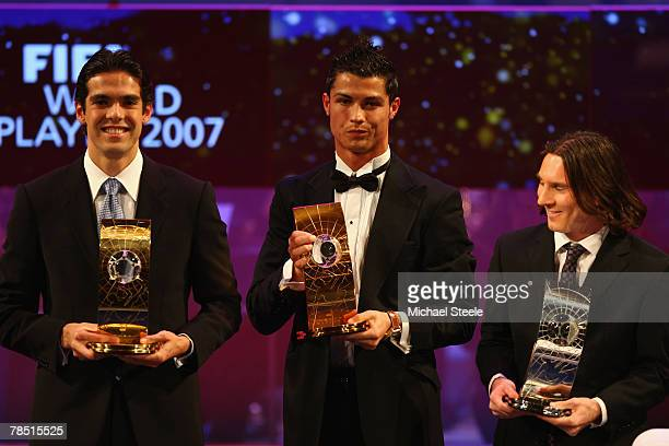 Kaka of AC Milan and Brazil winner of World PlayerCristiano Ronaldo third placed of Manchester United and Portugal and Lionel Messi runner up of...